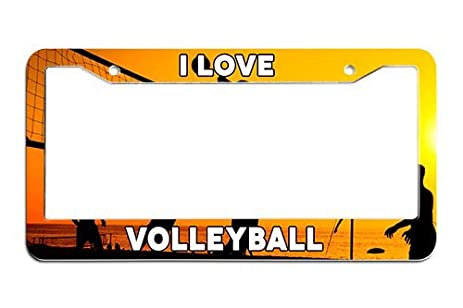 Amazon.com : OdyBystore I Love Volleyball License Plate Cover and ...