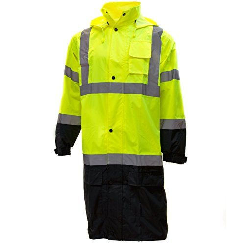 RK Class 3 Rainwear Reflective Hi-Viz Black Bottom Long Rain Coat RC-CLA3-LM22 (Large, Lime)