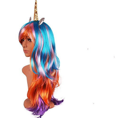 Price comparison product image Unicorn Cosplay Wig Multi-Color Lolita Wigs Ponytail Long Curly for Women Halloween Costumes Party Hair Accessories (Gold horn)