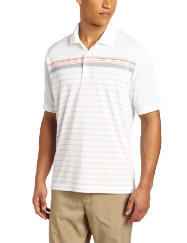 (adidas Golf Men's Climacool White-Based Engineered Stripe Polo Shirt, White/Sunset, XX-Large)