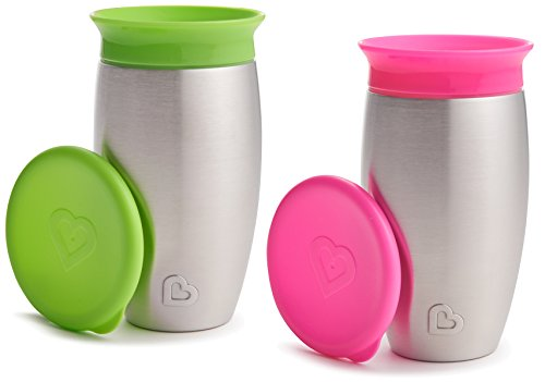 Munchkin 2 Pack Miracle 360 No Spill Sippy Cup, 10 Ounce, Green/Pink