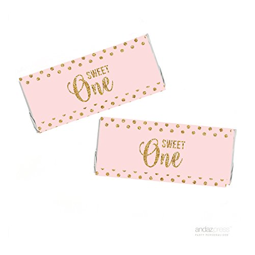 Andaz Press Blush Pink Gold Glitter Girl's 1st Birthday Party Collection, Hershey Bar Labels, 10-Pack