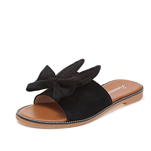 negro amarillo Do redonda con y SHINIK Summer de Chanclas Beige tacón para PU Bowknot de Zapatillas Comfort punta mujer Zapatillas bajo zzTHRxq
