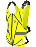 GlowONme Reflective Running Vest - Reflective Gear for Running, Cycling, Jogging, Walking, Outdoor Sports, Motorcycle | Adjustable | Front Zipper | Large Back Pocket For All Phones - for Men and Women