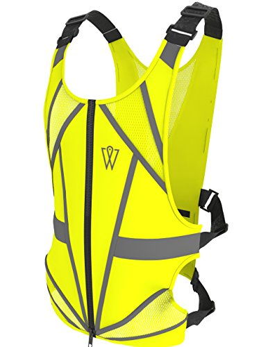 GlowONme Reflective Vest - Premium Reflective Vest for Running, Cycling, Jogging, Walking, Outdoor Sports, Motorcycle - Adjustable, Lightweight, Large Back Pocket, Front Zipper - for Men and - Womens Vest Cycling