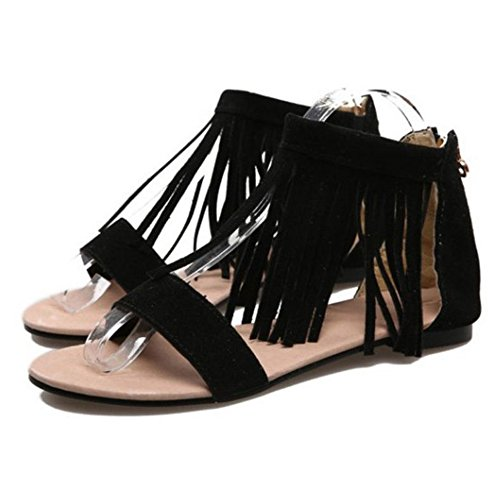 Frange Plates Femmes Sandales TAOFFEN Black XwA7Xq