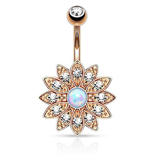 Dolland Womens Belly Button Rings Dangle Flower Opal Jeweled Navel Surgical Steel Body Piercing Jewelry,Rose Gold