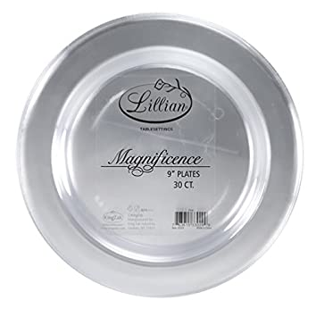 Lillian Tablesettings 30-Count Magnificence Plastic Plates, 9-Inch, Pearl 33599