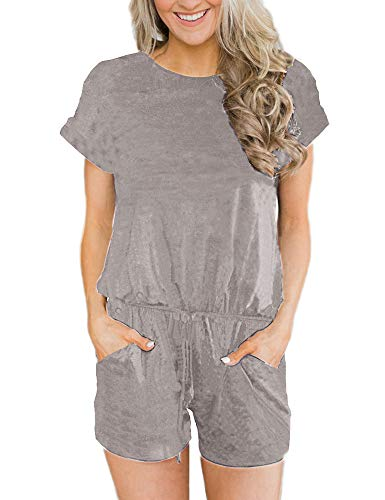 ANRABESS Women's Summer Short Sleeve Striped Jumpsuit Rompers with Pockets Short Pant Rompers Playsuit Solid qianhui-XL BYF-33 Light Gray