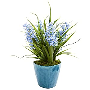 Nearly Natural 8269 Hyacinth Artificial Blue Vase Silk Plants 7