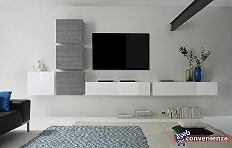 Pareti Soggiorno Grigio E Bianco : Web convenienza cube e bianco lucido e rovere grigio parete