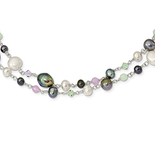 7.5mm Sterling Silver Grey Wht Fwpearl Green Quartz Chrysolite Tanz. Lav. Jade Necklace - 58 Inch (White Pearl Jade Freshwater Necklace)