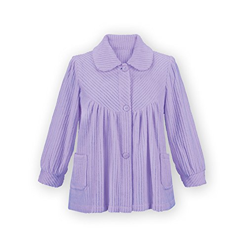- Women's Soft Fleece Button Down Night Shirt with Pockets - Comfy Flattering Fit Over Pajamas or Nightgown, Lavender, Xx-Large