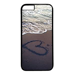 """Beach View Heart In The Sand Theme Case for iPhone 6(4.7"""") PC Material Black"""