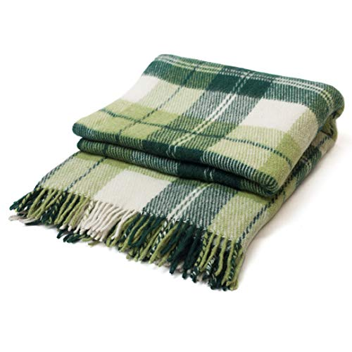 (CG HOME Wool Plaid Blanket Throw Tartan with Fringe | Warm and Luxurious, Large, Soft, Thick | for Winter Comfort, Home & Exterior Decor | 79