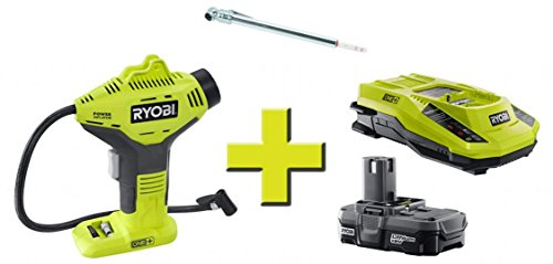Ryobi 18-Volt ONE Power Inflator with Charger & Lithium-ion battery with Bonus Tire gauge