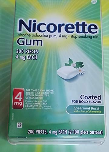 Nicorette Nicotine Gum to Stop Smoking, 4mg, Spearmint Burst with Chamomile Flavor, 200 Count