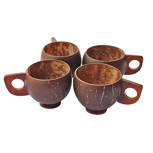 HealthAndYoga(TM) Coconut Shell Cups | Natural Cups for an 'Earthy'lifestyle (4 pcs. set) - Coconut Shell Cups
