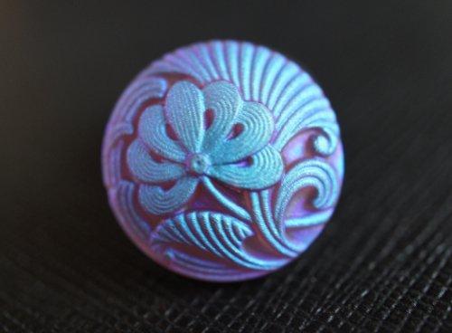 Hand Made Art Czech Glass Buttons Flower Ametyst Matte Blue AB Size 8, 18mm, 1pc