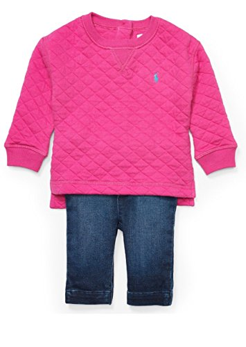 Ralph Lauren Baby Girls' Quilted Top and Pull-On Pants Set (3 MONTHS, ACTIVE PINK)