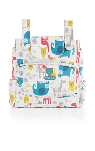 Pirulos 47212220 - Talega, diseño happy zoo, 35 x 36 x 10 cm, color blanco y gris
