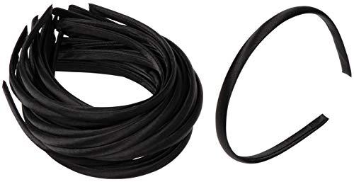 Satin Covered Headbands - 60-Pack 10mm Black Head Bands, Hard Headbands, Fabric Headbands, Hair Accessories for Girls Women Teens Favor, for DIY Craft Art, Accessory Making, 4.5 x 5.25 x 0.39 Inches ()