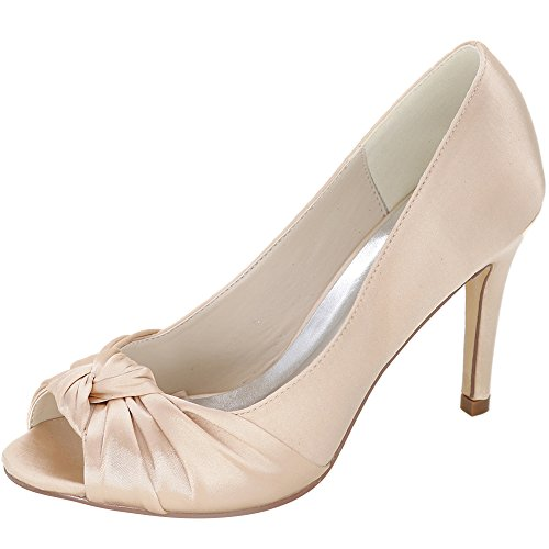 LOSLANDIFEN Womens Peep Toe Pumps Slip On Stiletto High Heels Wedding Shoes Champagne mY5BORcJY9