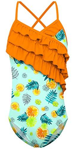 6a0b61eb6fa0d UNICOMIDEA Girls Swimwear Fruit Bathing Suit Swimsuit of Thin Straps Orange  Print One Piece Hawaii Sunbath Floral Swim Suits(Green, 8-10 Years)