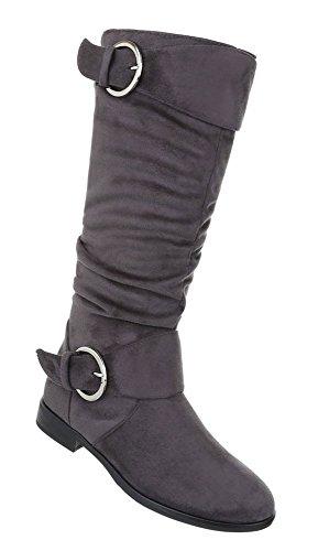 Damen Schuhe Stiefel Strass Besetzte Used Optik Grau