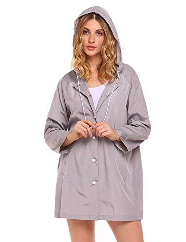 Veste Imperméable Grau Capuche Classique Avec L'eau Unie Cordon D'extérieur À Couleur De Fille r5qrZ