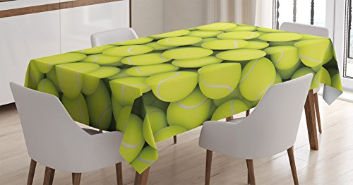 Sports Decor Tablecloth by Ambesonne, Heap of Tennis Balls Hobby Happiness Leisure Competitive Match Lifestyle, Dining Room Kitchen Rectangular Table Cover, 60 X 90 Inches