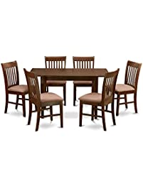 east west furniture nofk7mahc 7piece kitchen nook dining table set