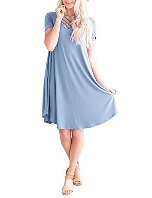 DUNEA Women Short Sleeve Criss Cross T-Shirt Dress with Pockets Casual Loose Swing Mini Dress for Women