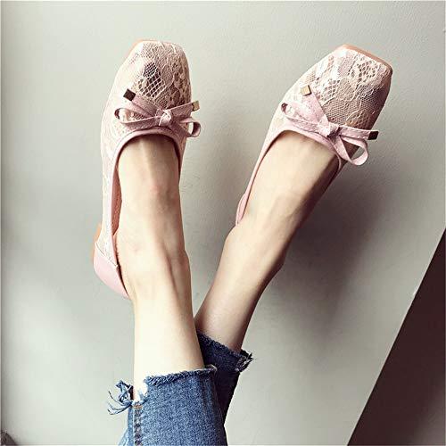 del Calado Zapatos 40 Las del UE Planos de Zapatos Embarazadas Mujeres Las 39 FLYRCX Inferiores Solos Planas cordón Retro Suaves cómodos EU Zapatos Sandalias BxwXqFzI