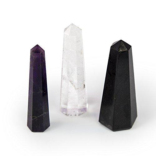 Beverly Oaks Crystal Obelisk Set Featuring Deep Purple Amethyst, Clear Quartz and Black Tourmaline - Powerful Gemstone Healing Wands