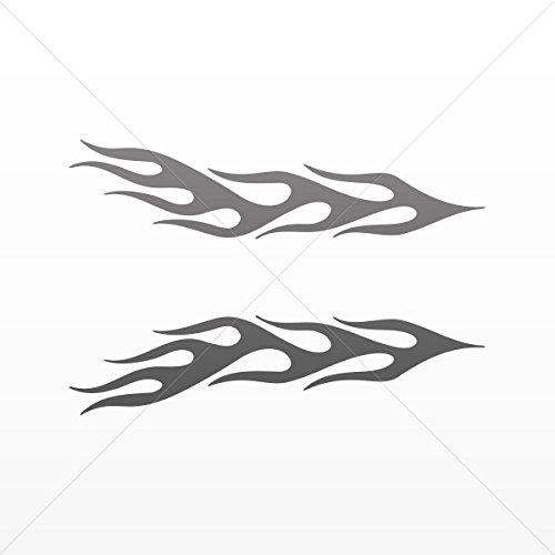 Decal Stickers Pair of Flames Decoration Bike Motorbike Bicy Gray Dark (5 X 1.19 Inches)]()
