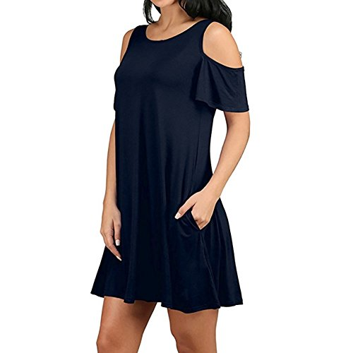 Koerim Womens Cold Shoulder Short Sleeve Tunic T Shirt Dress Loose Casual Swing Dress With Pockets