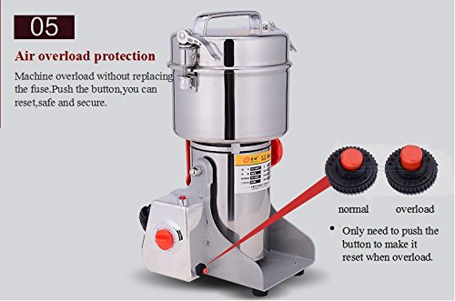 2500g Commercial Electric Grain Grinder Mill Spice Grinder Grain Powder Grinder Grinding Machine Chinese medicine Spice Herb Grinder Flour Mill Pulverizer Food Grade Stainless Steel CE approved by CGOLDENWALL (Image #4)