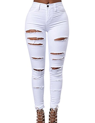Dchir Naliha White Maigre Femmes Taille Jean Pantalon Haute Legging Stretch Les Pantalon wqZfOg