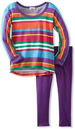 Splendid Littles Little Girls' Pensacola Stripe Tunic Set, Tropic Sea, 2T