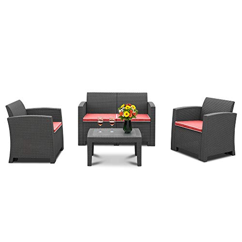 Bonnlo 4 Piece Patio Furniture Set, Rattan Table Chair Set, Conversation Set with Removable Cushion Outdoor Indoor Use Sectional Yard Furniture Set, Simple Assembly Tools Free (Black)