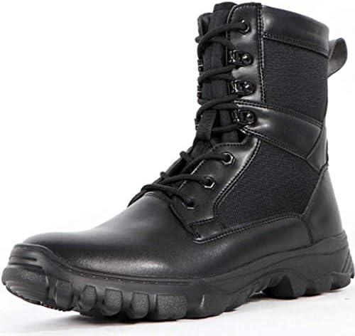 軍事戦術的なブーツレザーネット通気性の登山靴軽量の滑り止め耐摩耗クッション快適なラバーソール (色 : 黒, サイズ : 25 CM)