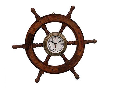 Solid Brass Ships Wheel Clock - Antique Brass and Wood Ship Wheel Clock 12