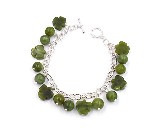 Connemara Irish Marble: Sterling Silver Charm Bracelet ~ Shamrocks & Beads ()