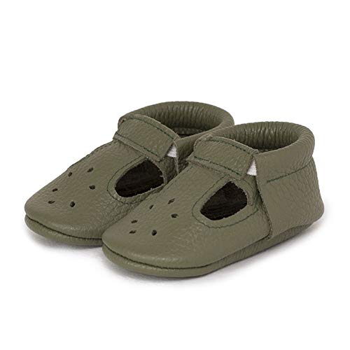 LittleBeMocs T-Strap Baby Moccasins (Italian Leather) Soft Sole Shoes for Boys and Girls | Infants, Babies, Toddlers (XS | 6-9 mo. | 4.6