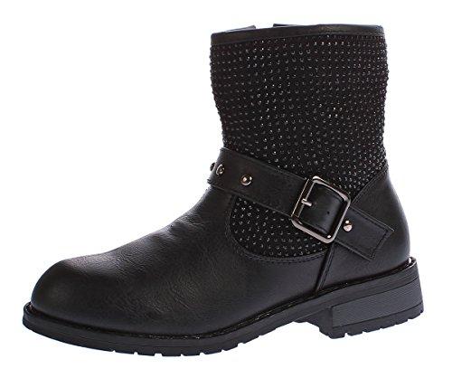 Kinder Stiefeletten Mädchen Winter Schuhe warm gefüttert Kunst Leder Boots Strasssteine Gr. 31 - 36 Schwarz