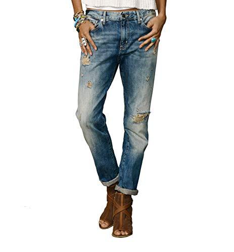 Ralph Lauren Denim & Supply Women's Distressed Boyfriend Jeans Oceanside Wash 25 Blue