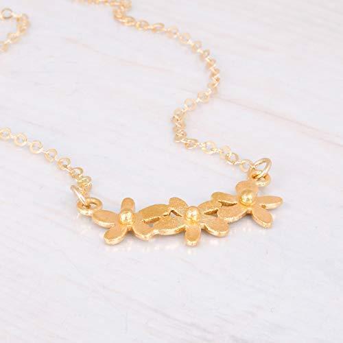 Amazon Com Gold Flower Bar Necklace Designer Handmade Delicate