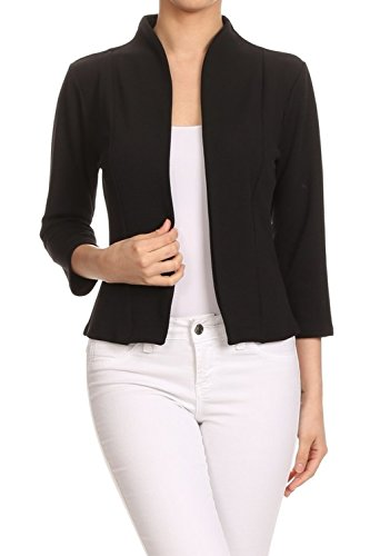 MissMissy Womens Casual Business Slim Fit Long Sleeve Blazer Jackets J907 (Large, J907-6 Black)