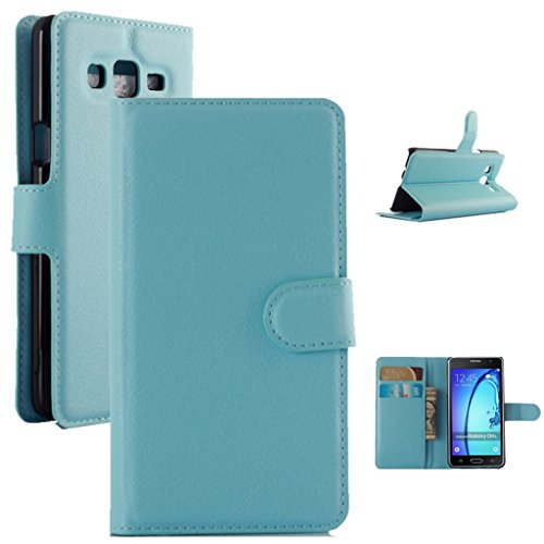 """Samsung Galaxy On5 G550 (5.0"""") Case, ANGELLA-M Retro Litchi Texture Classic PU Leather Wallet Stand Card Slot Flip Protective Cover - Blue"""